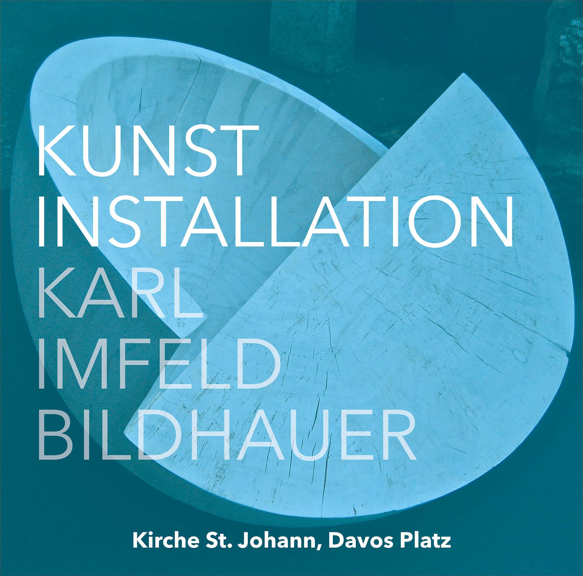 Banner zu den Kunstinstallationen des Bildhauers Karl Imfeld in der Kirche St. Johannes, Davos Platz